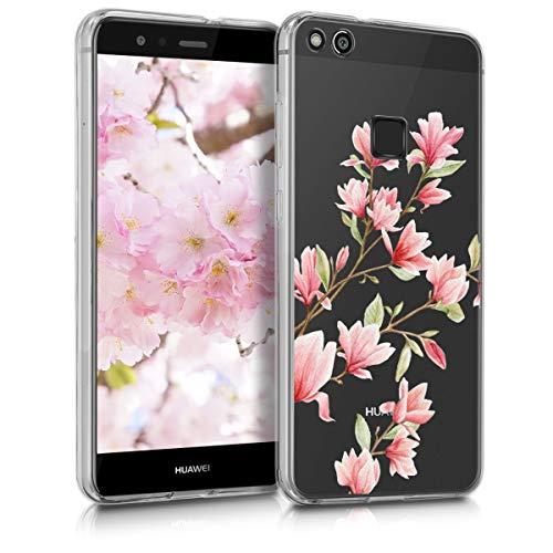 kwmobile Hülle kompatibel mit Huawei P10 Lite - Hülle Handy - Handyhülle - Magnolien Rosa Weiß Transparent