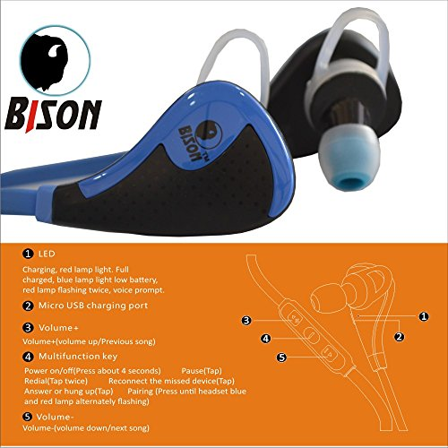 Bison Wireless Sports Headset ✮ HD Bluetooth 4.1✮ No1.Gifts for Him or Her ✮ Stereo Headset ✮ Special Design for Marathon runner , Gym, Exercise, Running, Cycling, audio book and music listener ✮Light weight ✮Hand free calling✮ crystal clear conversation✮ comfortable ✮Great sound ✮100% Money Back Guarantee.