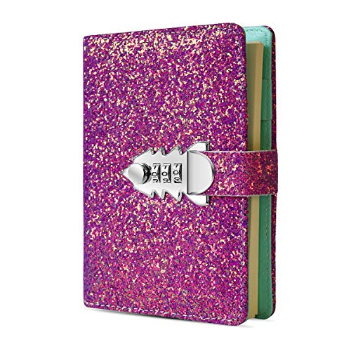 Digital Password Journal Combination Lock Diary Locking A6 Refillable Leather Journal (Purple)