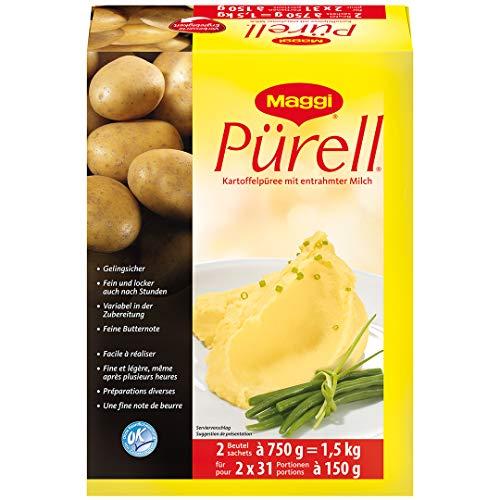 Maggi Pürell Kartoffelpüree mit entrahmter Milch, authentische Stampfkartoffeln mit feiner Butternote, 1 x 1,5kg (2 Beutel x 750g)