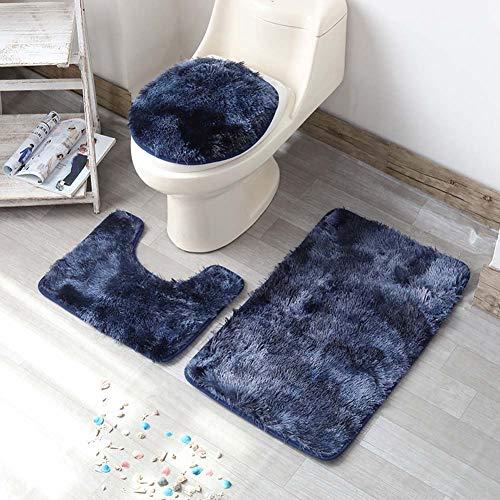 ETOPARS Badteppich-Set 3-teilige, rutschfeste, rutschfeste Badematte, U-förmiger Konturteppich und Toilettendeckel, waschbar, Navy