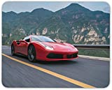 7.1 x 8.7 Inch Mouse Pad, Fast Red Car Mousepad - Ferrari Sports Cars Cool Driving Racing Dad Gift