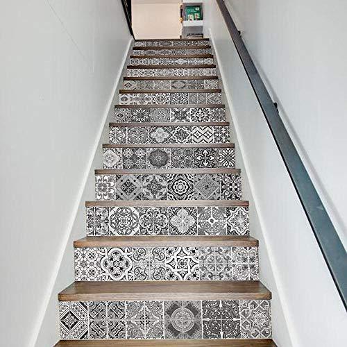 GVRPV 3D Pegatinas para escaleras13 Piezas Creativo Simple Negro Blanco Antiguo Retro baldosas de cerámica Pegatinas de Escalera Pegatina de Paso Pegatinas de Pared Papel Tapiz