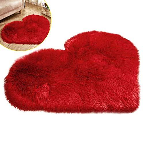 Bestine - Alfombra de felpa con forma de corazón y forma de corazón, antideslizante, para dormitorio, sala de estar, hogar, sofá, sofá, suelo de felpa