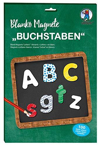 Ursus 43120099 Blanko Magnet Buchstaben, weiß, 100 Stück, ca. 3,2-4,3 cm, zum Selbstgestalten, lehrreicher Spielspaß für Jungen und Mädchen, ideal als Geschenk für die Einschulung, bunt