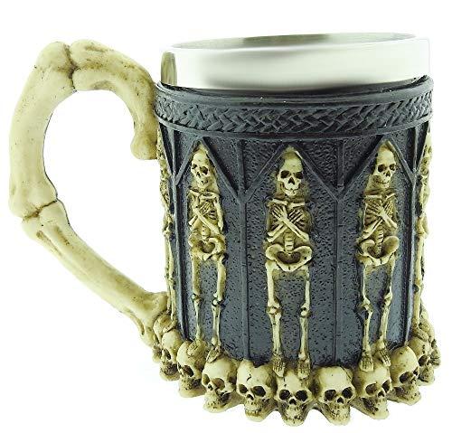 Tazza Teschio - Mummia - 3D - Cranio - Scheletro - Acciaio Inox - Resina - Boccale Birra - Horror - Gotico - Idea Regalo - Bevande - Caffè - Uomo - Vichinga - Medievale - Halloween - Ottima Qualità