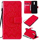 KKEIKO Hülle für Nokia 3.2, PU Leder Brieftasche Schutzhülle Klapphülle, Sun Blumen Design Stoßfest Handyhülle für Nokia 3.2 - Rot