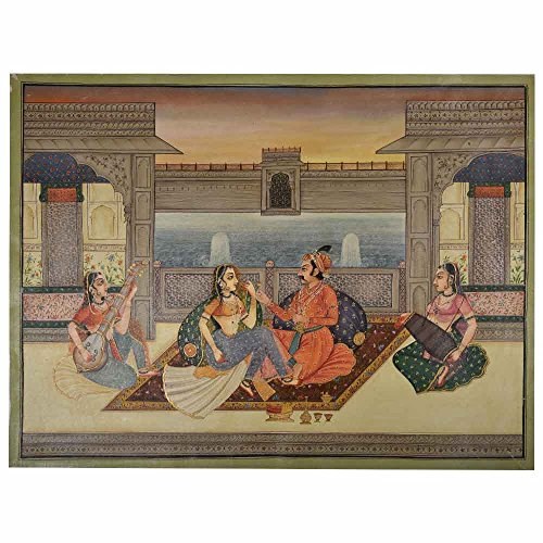 Indian Shelf Handcrafted Painting of Royal Beloveds in Mughal Painting/Wall Art PT-12 Designer Gift