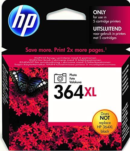 HP 364XL Photo CB322EE Negro, Cartucho de Alta Capacidad Original, de 290 páginas, para impresoras HP Photosmart 5510, 5520, 5525, 6510, 7510, 7520, B8550, C5380, C6380 y D5460
