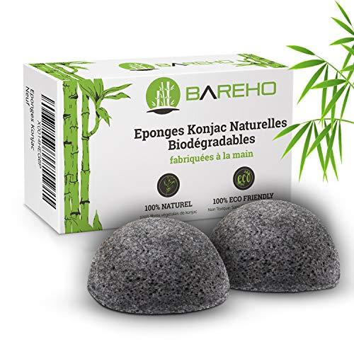 BAREHO : Eponge Konjac Premium 100% naturelle, exfoliant doux pour le visage, régule le sebum, prévient l'acné, absorbe les toxines, enrichie au charbon actif de bambou.