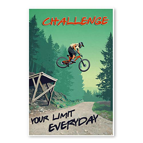 CREATORY Mountain Bike Canvas Framed Poster, Ride Bike Print Wall Art, Home Office Decor (Custom Quotes)