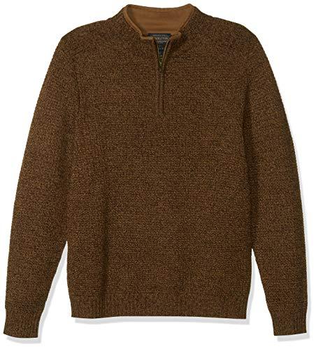 Pendleton Men's Shetland Half Zip Cardigan Sweater, Beaver Marl, XXL