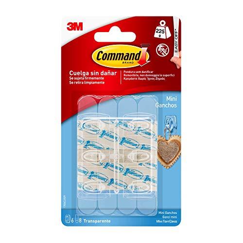Command 17006CLR Pack de 6 ganchos con tiras, transparente, Mini, Set de 6 Piezas