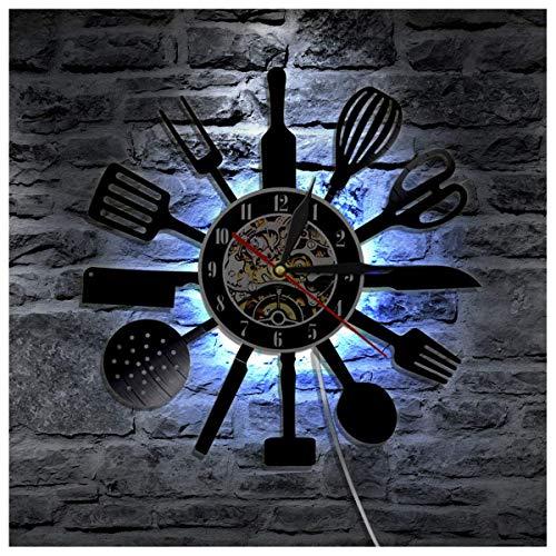 Wanduhr 12 Zoll Küche Besteck Löffel Schallplatten Wanduhr mit LED Leuchtend, Hintergrundbeleuchtung Atmosphäre Lampe Uhren für Wohnzimmer Dekor, Led