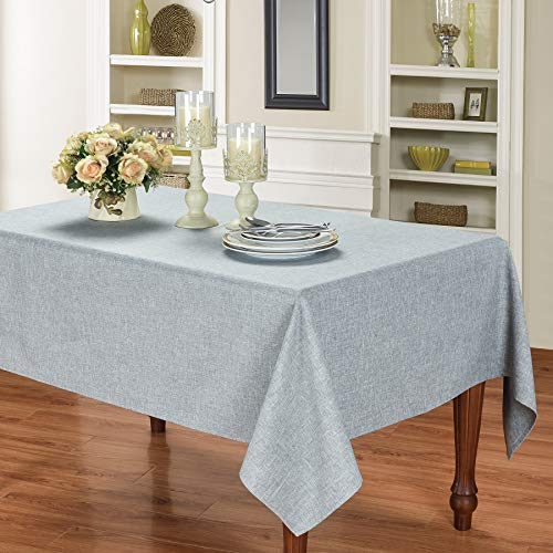 HOMCHIC Faux Linen Rectangle Table Cloth - Washable, Spillproof, Easy Care, Wrinkle Resistant, Thick Indoor and Outdoor Tablecloth, Premium Polyester Fabric-60x84 Inches-Oblong/Rectangular-Slate Grey
