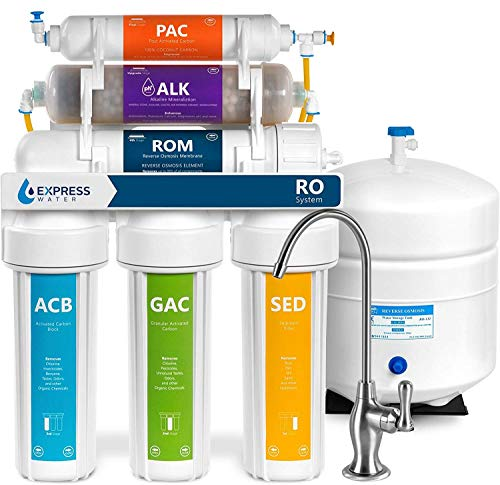 Express Water ROALK5D Reverse Osmosis Alkaline Water Filtration System – 10 Stage RO Water Filter with Faucet and Tank – Under Sink Water Filter – with Alkaline Filter for Added Essential Minerals – 50 GPD