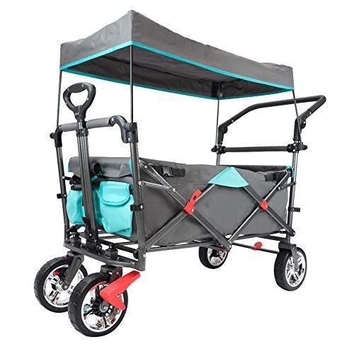 Lemmy Max+ Faltbarer Bollerwagen LMY500GYT, Kinderwagen,Campingwagen, Einkaufswagen,Transportwagen,Mit Dach,2 Dreieckiges Sicherheitsgurtsystem,Tragfähigkeit 80kg (Grau+Tuerkis)