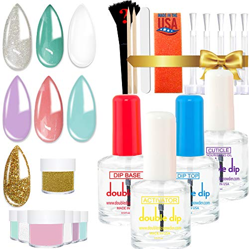 Dipping Powder Starter Kit 7 Colors   2X POWDER VOLUME   MADE IN USA  Pastel Dip Powder System Starter Nail Kit  Essential & Portable Kit for Travel  Acrylic Dipping System for Nail Manicure Nail Art