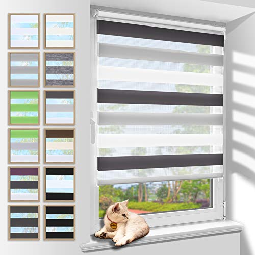 Zarnan Doppelrollo Klemmfix 40x120cm(BxH) Weiß-Grau-Anthrazit Sichtschutz,Rollos für Fenster Tür ohne Bohren Blickdicht und Sonnenschutz,Duo Rollo Fensterrollo innen Wandmontage auch möglich