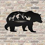 Ced454sy - Cartel de metal con silueta de oso con escena de montaña
