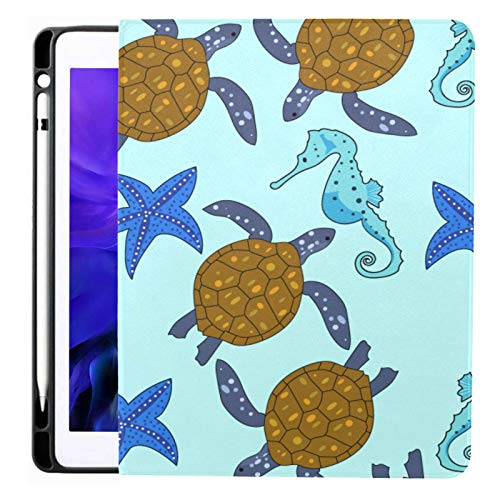 Ipad Pro 12.9 Case 2020 & 2018 With Pencil Holder Drawn Marine Turtle Smart Cover Ipad Case, Supports 2nd Gen Pencil Charging,case For 2020 Ipad Pro 12.9 Cover With Auto Sleep/wake