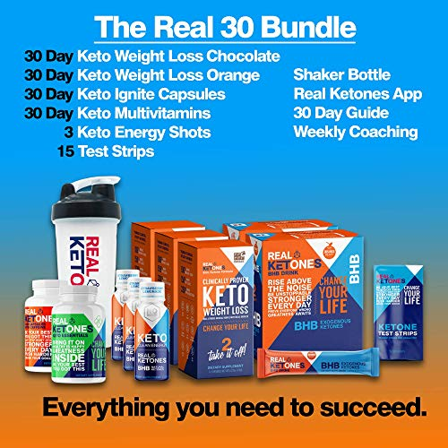 Real 30 Day Keto Starter Bundle Kit - Exogenous Ketone BHB Packets, BHB Pills, Multivitamins, 15 Urine Test Strips and 3 Energy Shot Drinks by Real Ketones™ 5