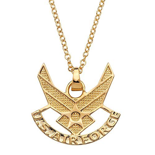Palm Beach Jewelry - Collar con Colgante de Fuerza aérea Chapado en Oro de 14 Quilates, 50,8 cm