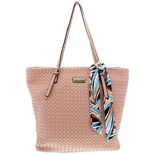 Qwifyu Women's Woven Faux Leather Tote Shopper Handbag