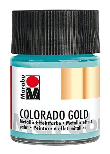 Marabu 12640005758 - Metallic Effektfarbe, Colorado Gold metallic türkis 50 ml, auf Wasserbasis, lichtecht, wetterfest, schnell trocknend, zum Pinseln und Tupfen auf saugenden Untergründen