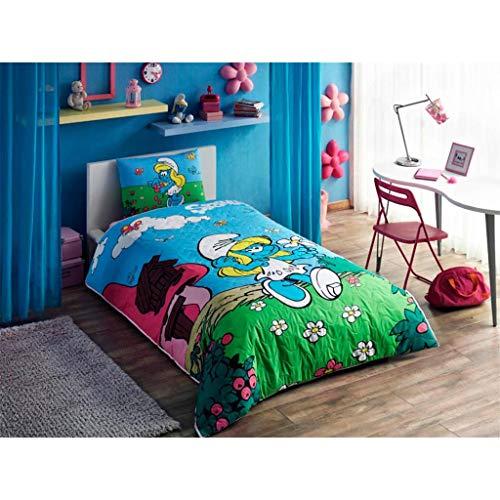 Juego completo de sábanas Tac Pitufos de tela estándar de algodón tejido Tema ropa de cama para bebés y niños, número de fundas de almohada, 1 pieza