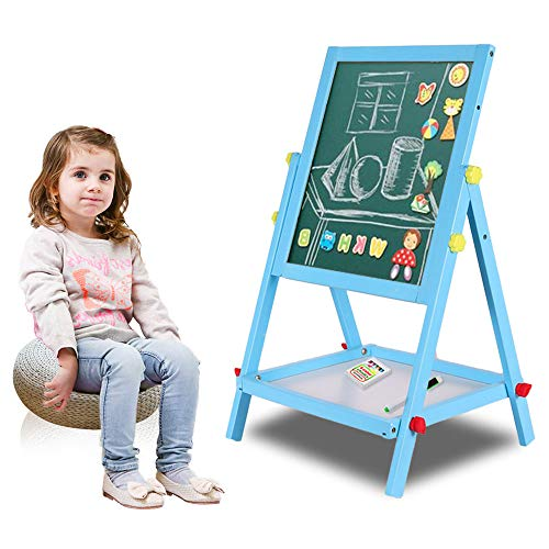 Arkmiido Double Sided Wooden Kids Easel 2 in 1 Double Sided Drawing Board Chalks amp Bottom Tray Art Accessories Included Ages 3