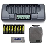 Powerex MH-C800S Charger with 8 Pro AA NiMH Batteries (1.2V, 2600mAh) + Powerex Accessory Padded Bag & Cleaning Cloth