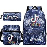 Travel TIK Tok Girls School Casual Daypacks Set Mochila Escolar para Estudiantes + Bolso pequeño + Bolso para bolígrafo Conjunto de Tres Piezas V-2