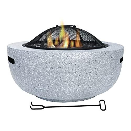 Brasero Exterior Poso de Fuego ardiente de leña, Pozo de Fuego al Aire Libre de 23 Pulgadas, tazón de Boquilla de Fuego de Barbacoa, Pico de Fuego de mármol de imitación en Patio de Patio