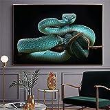 BIGSHOPART Blaue Schlange Poster Nordic Tier Leinwanddrucke