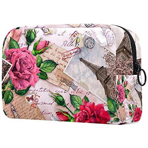 Bolsa de Maquillaje compacta Bolsas de cosméticos de Viaje portátiles para Mujeres niñas Neceser,Torre Eiffel Rosas Flores Sellos Postales Plumas