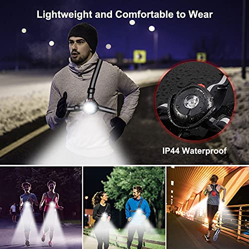 ALOVECO Outdoor Night Running Lights LED Chest Light Back Warning Light with Rechargeable Battery for Camping Hiking Running Jogging Outdoor Adventure (90° Adjustable Beam)