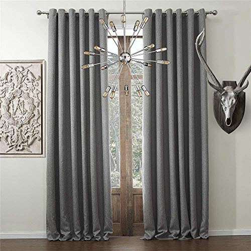 """IYUEGO Solid Faux Linen Classic Room Darkening Grommet Top Curtain Draperies with Multi Size Custom 50"""" W x 102"""" L (One Panel)"""