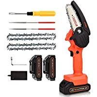 Juemel 4 Inch Portable Cordless Chain Saw with 20V Rechargeble Battery