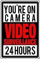 警告標識 ビデオ監視 24時間セキュリティ 道路標識 ビジネス標識 12X16インチ アルミニウム金属ブリキ標識