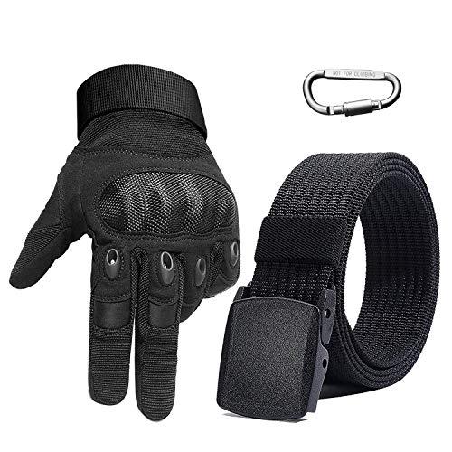 BESTKEE Motorradhandschuhe Herren, Taktische Handschuhe Geschenk mit Nylon Gürtel und Karabiner, Vollfinger handschuhe Harter Knöchel Schutz für Airsoft militär Paintball Motorrad Fahrrad Sports (XL)