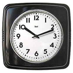 BAI Square Retro Wall Clock, Black