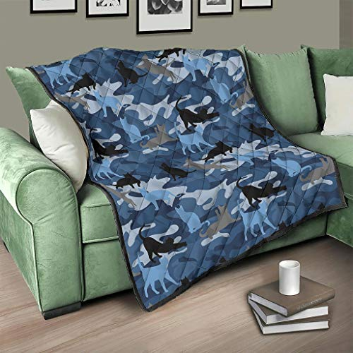 Flowerhome Colcha de camuflaje azul y gato, para cama o sofá, para adultos y niños, color blanco, 230 x 260 cm