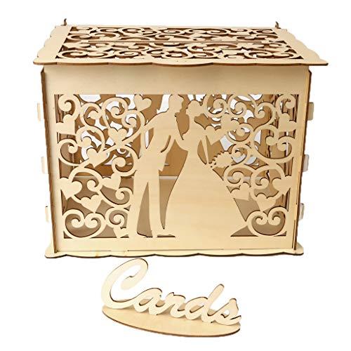 Geschenkbox DIY Holz Hochzeit Karte Box mit Schloss und Karte Zeichen Rustikale Hohl...