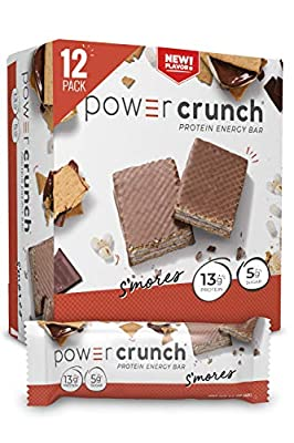 Power Crunch Whey Protein Bars, High Protein Snacks with Delicious Taste, S'Mores, 1.4 Ounce (12 Count)