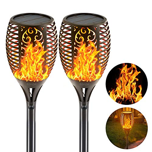 EOYIZW Solar Torch Lights, 43' Flickering Flames Torch Lights Outdoor Landscape Decoration Solar Garden Lights Dusk to Dawn Security Flame Light for Pathway Yard Patio 2 PCS
