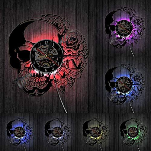 CHANGWW Tattoo Schädel mit Rose Wandkunst Wanduhr Skelett Schädel Dorn Rosen Vinyl Schallplatte Wanduhr Gothic Home Decor Wanduhr Uhr -with LED