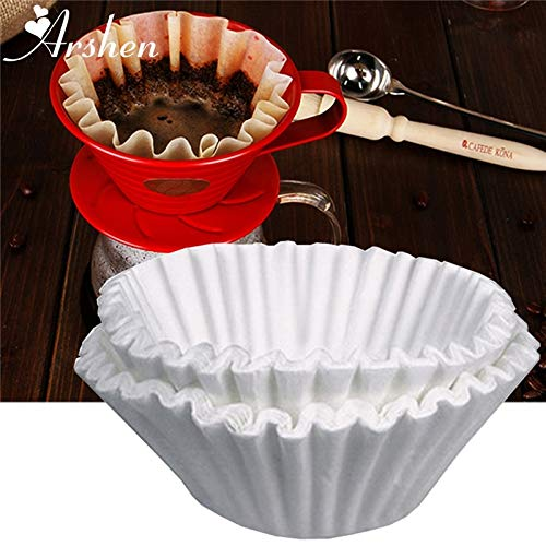 Best Quality - Coffee Filters - 50pcs/Set White Coffee Filters Single Serving Paper for Coffee Machine 24CM White Filter Paper Cake Cup Coffee Paper Bowl - by Tini - 1 PCs