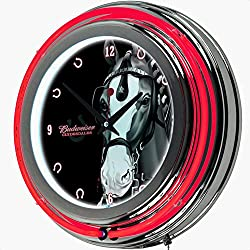 Budweiser Clydesdale Neon 14.5 Wall Clock, Double Ringed neon (Outside Ring Coordinated with Printed Logo and Inside White neon Ring illuminates The Clock face), Color: Red/Chrome/Black