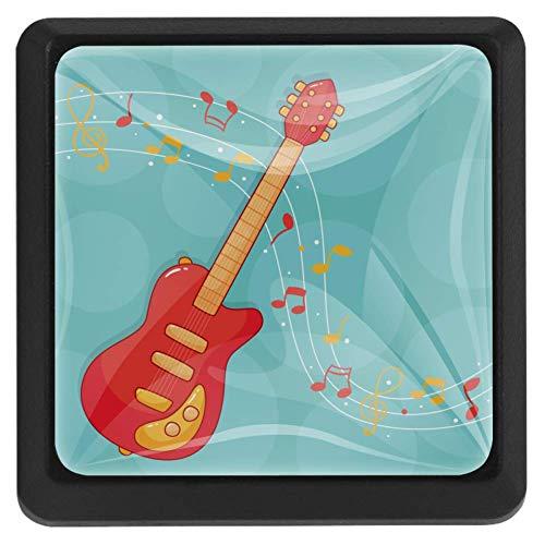 Cartoon Gitarre Note Schubladengriffe Quadratische Kristallglasknöpfe für die Raumdekoration (3 Stück) 37x25x17mm